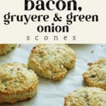 Bacon, Gruyere and Green Onion Scones on a cookie sheet.