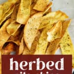 Herbed Pita Chips on a plate.