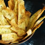 Herbed Pita chips in a bowl