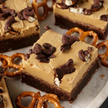 A marble platter with peanut butter brownies