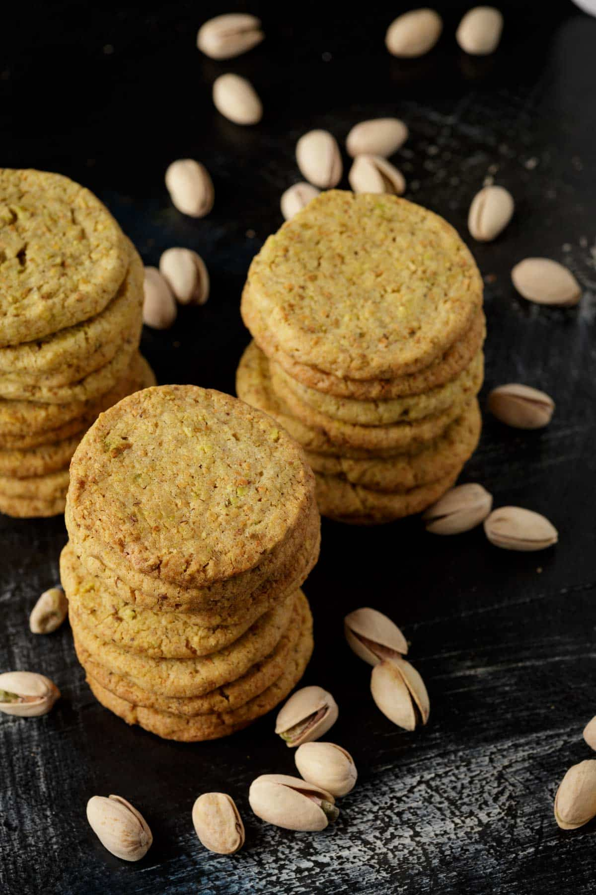 Stacks of pistachio shortbread cookies