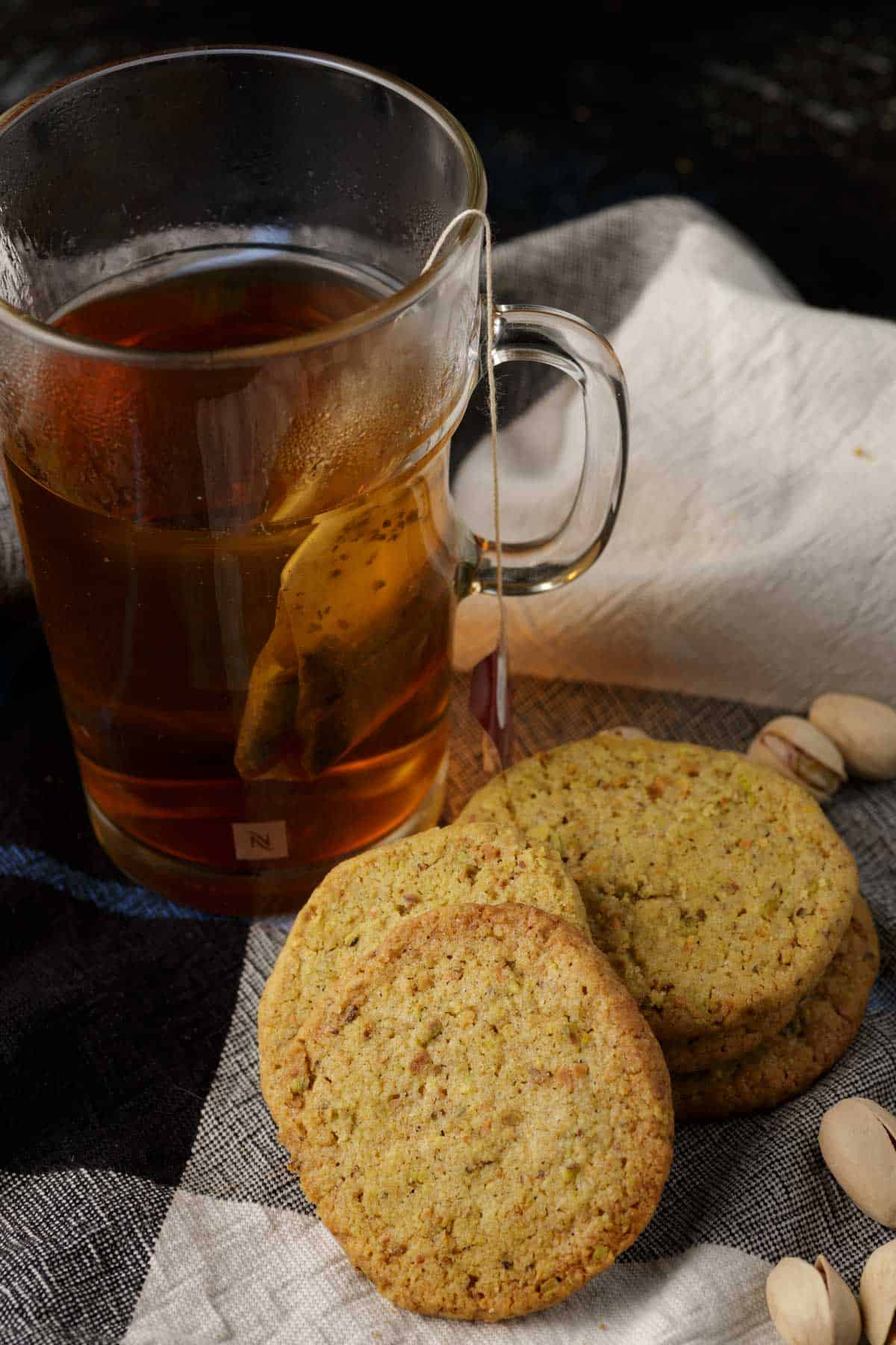 Shortbread cookies with a cup of tea