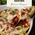 A serving of spinach stuffed shells in red sauce