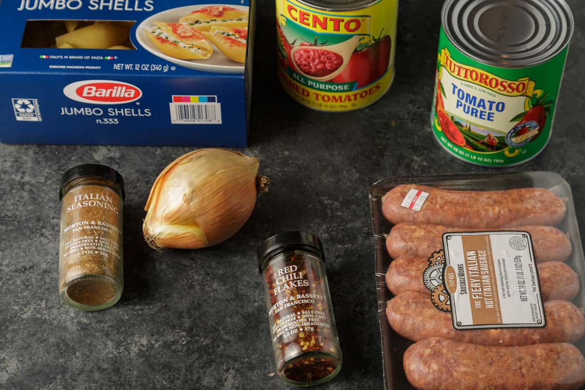 Ingredients for the sauce for stuffed shells