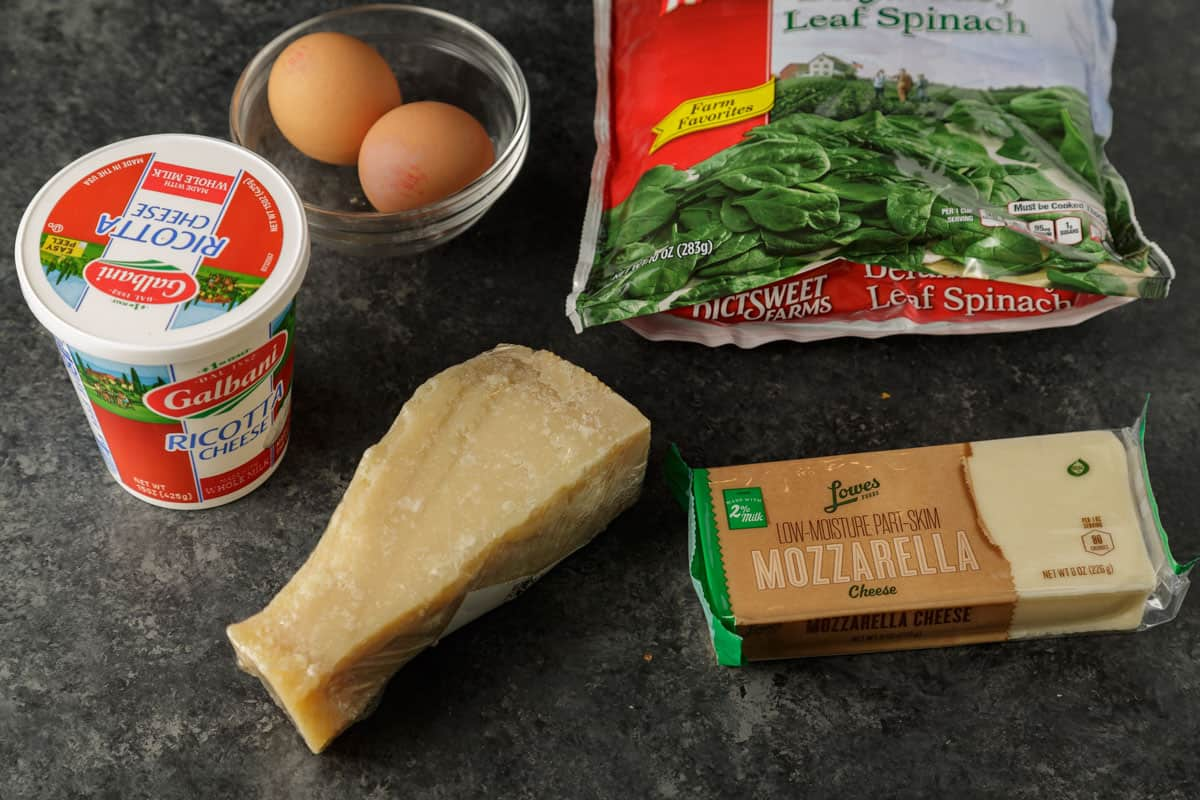 Ingredients for the cheese mixture to stuff into the shells