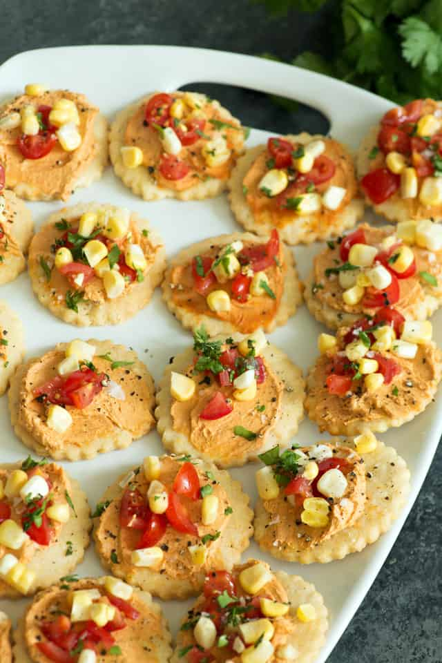 Shortbread appetizers on a platter