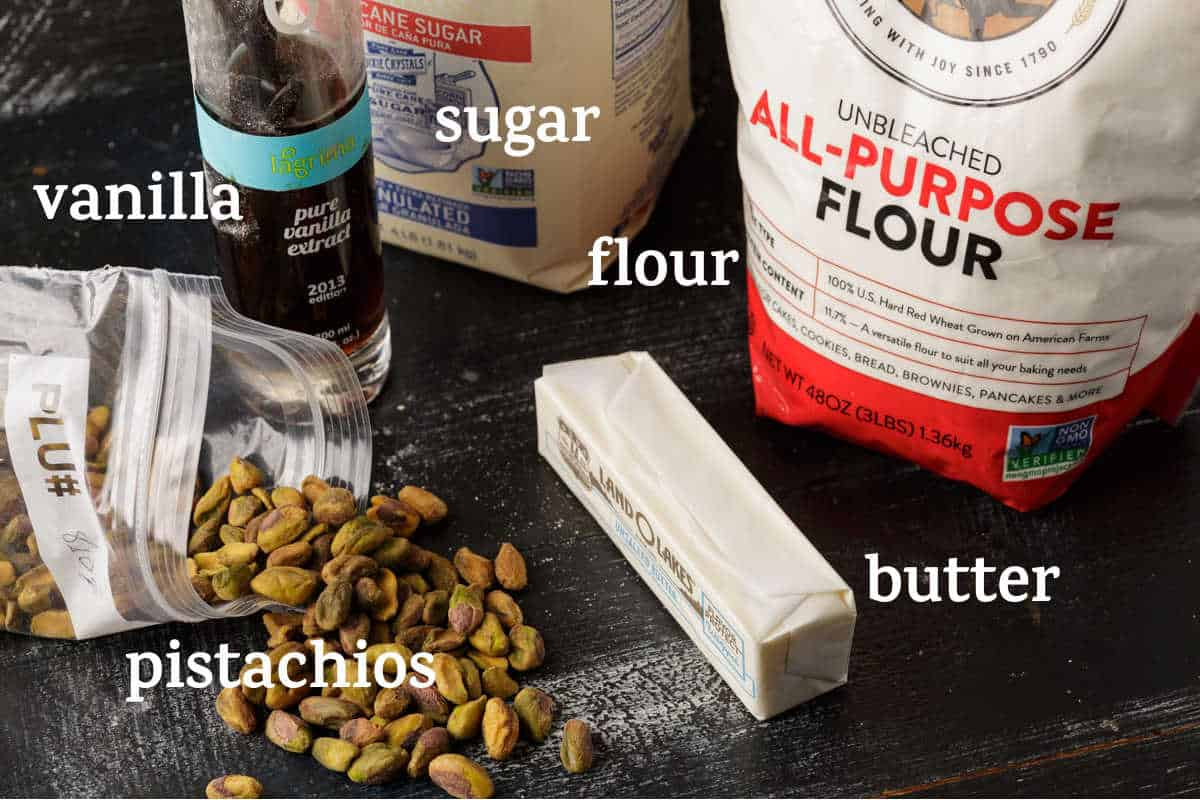 Ingredients for pistachio shortbread cookies
