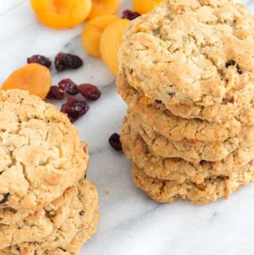A stack of Cranberry Apricot Oatmeal Cookies
