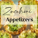 Zucchini Appetizers in phyllo cups on a platter.