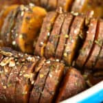 A close up of Hasselback sweet potatoes