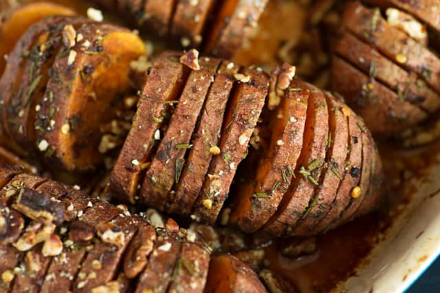Close-up of Hasselback sweet potatoes