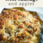 Stuffed Acorn Squash with Sausage and Apples on a plate.