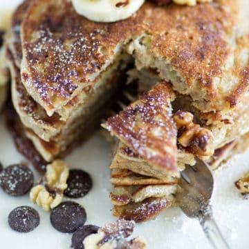 A stack of banana bread pancakes