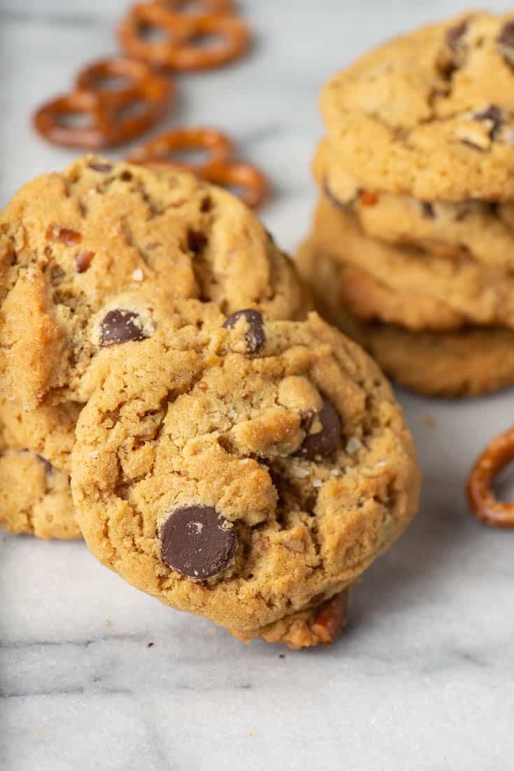 Pretzel Peanut Butter cookies in a stack