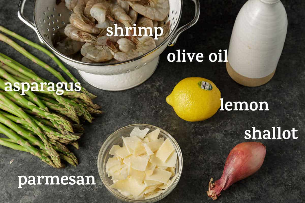 ingredients for shrimp and asparagus