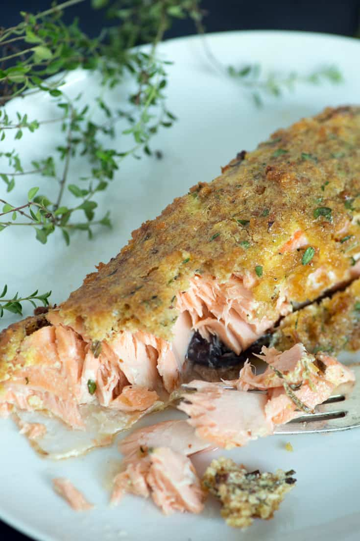 A plate of Herb-Crusted Salmon
