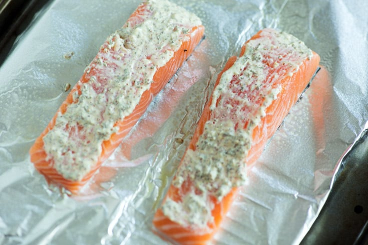 Herb Crusted Salmon before it's baked