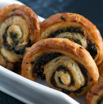 Spinach pinwheels in a dish
