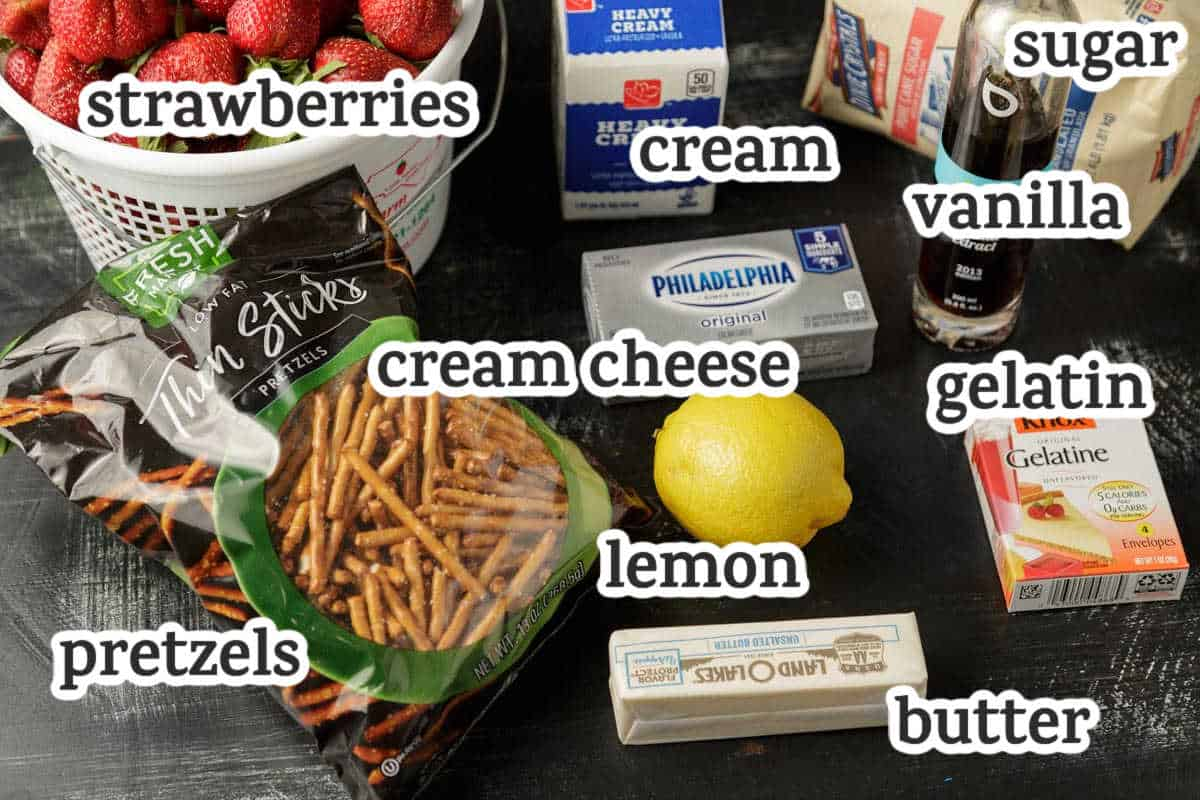 Ingredients for strawberry icebox pie