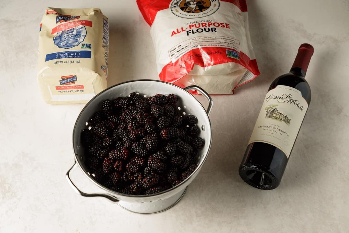 Ingredients for the filling for a blackberry crisp