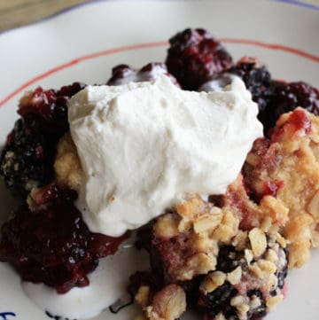 A serving of Blackberry Cabernet Crisp