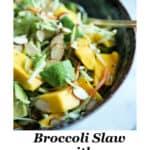 A bowl of broccoli slaw with mango and avocado