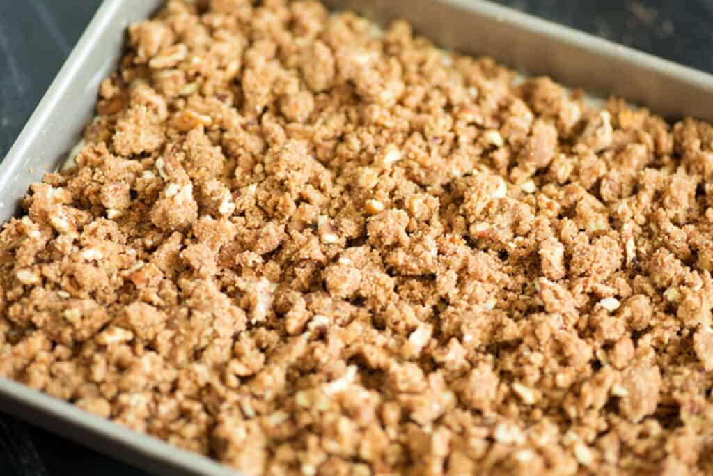 Streusel on top of a coffee cake