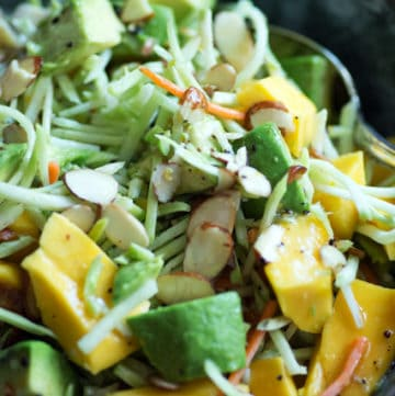 Close-up of Mango Avocado Broccoli Slaw in bowl