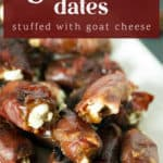 A close up photo of grilled dates stuffed with goat cheese