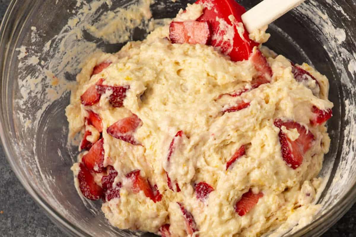 The batter for lemon strawberry cake
