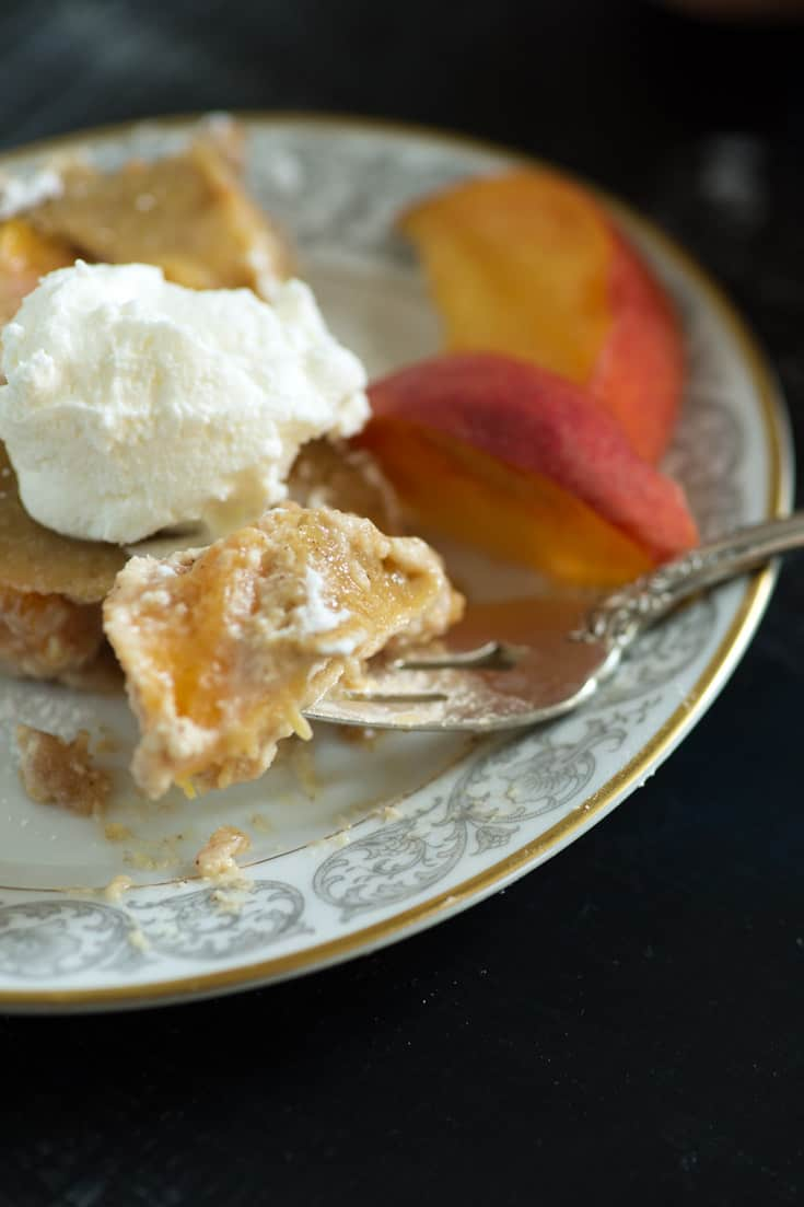 A bite of Peaches and Cream Pie