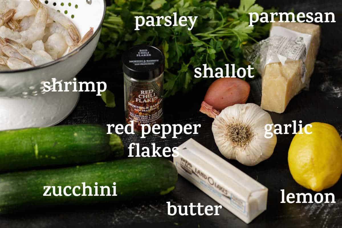 Ingredients for shrimp scampi with zucchini noodles