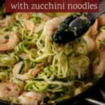 A skillet of zoodles and shrimp
