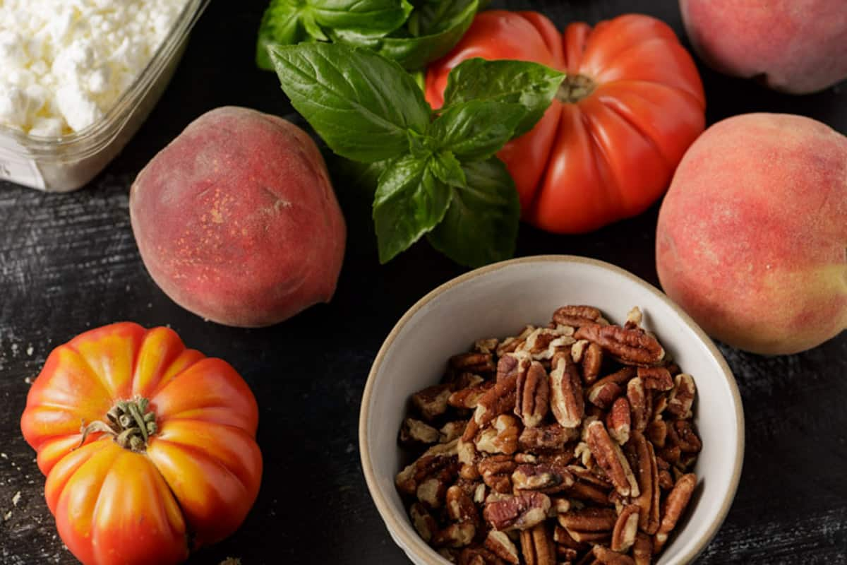 Ingredients for a tomato salad.