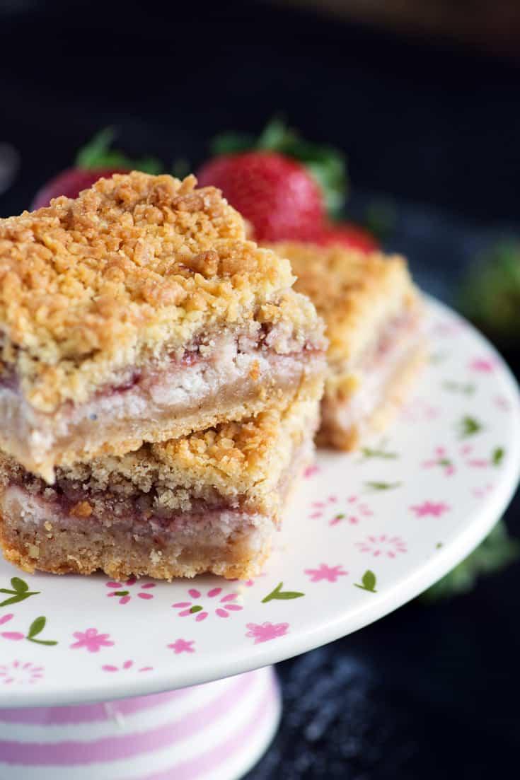 A platter of Strawberry Shortbread Bars