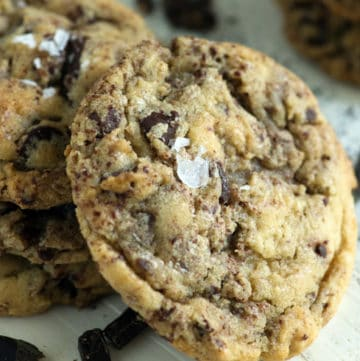 Chocolate Chip Cookies with Grated chocolate on plate