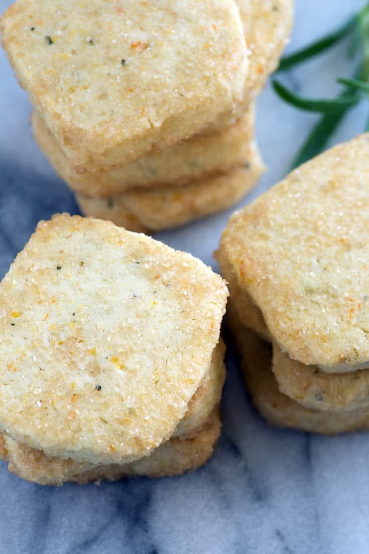 Stacks of orange rosemary shortbread cookies