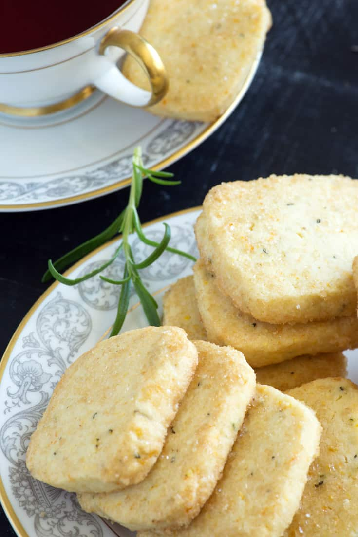 Orange Rosemary Shortbread Cookies on a plate