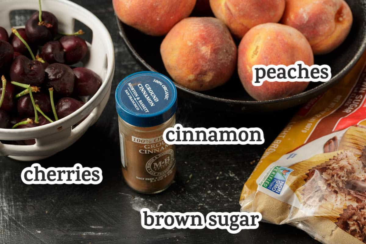 Ingredients for the fruit layer of peach kuchen.