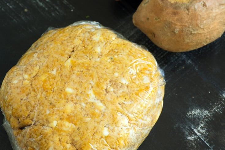 The dough for Apple-Sweet Potato Cobbler