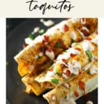 A plate of peach and chicken taquitos topped with yogurt chipotle sauce.