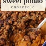 Bourbon Sweet Potato Casserole in a dish.