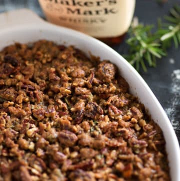 Bourbon sweet potato casserole in a baking dish