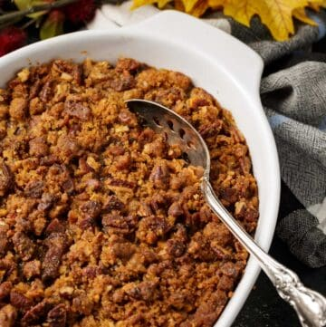 Sweet potato casserole with spicy pecans.