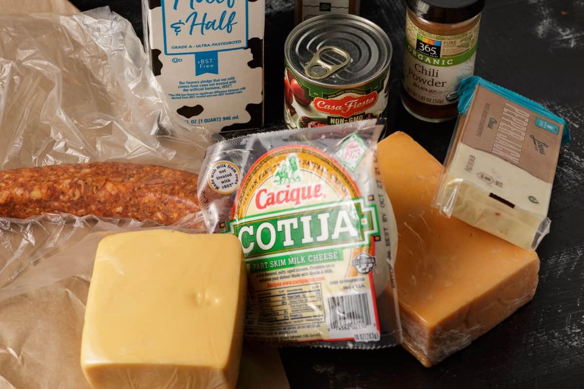 ingredients for chorizo queso fundido
