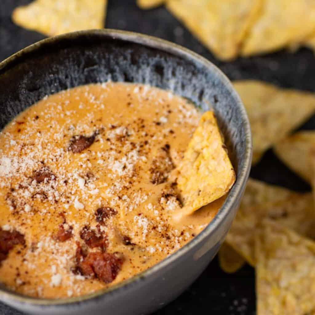 A bowl of chorizo queso fundido