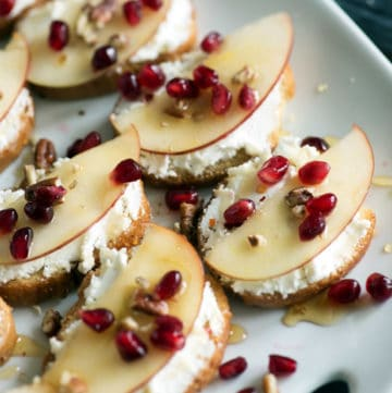 Pomegranate Crostini on dish