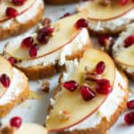 Crostini with goat cheese on a platter