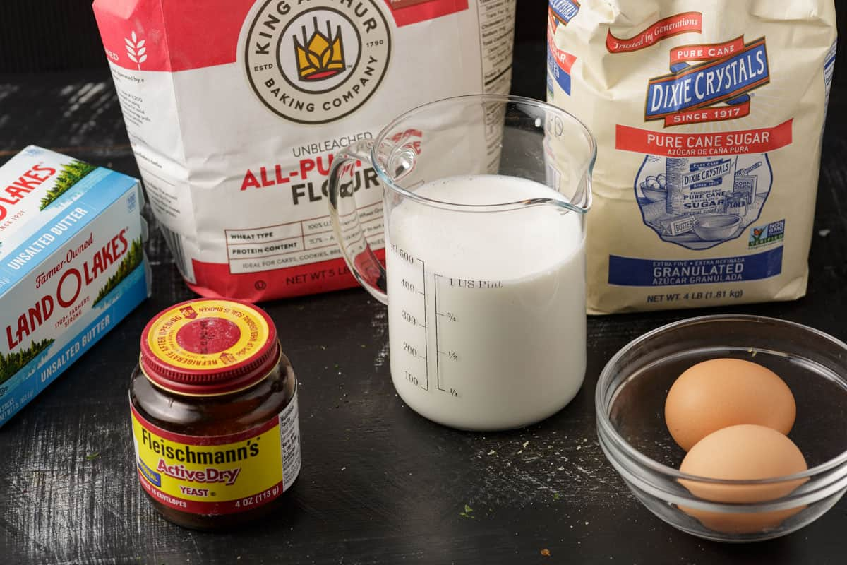 Ingredients for Parker House yeast rolls.
