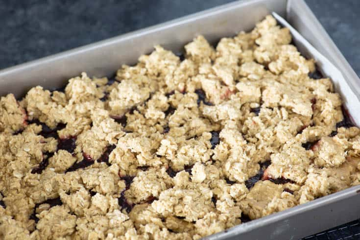 A pan of Raspberry Oatmeal Brownies before they are cooked